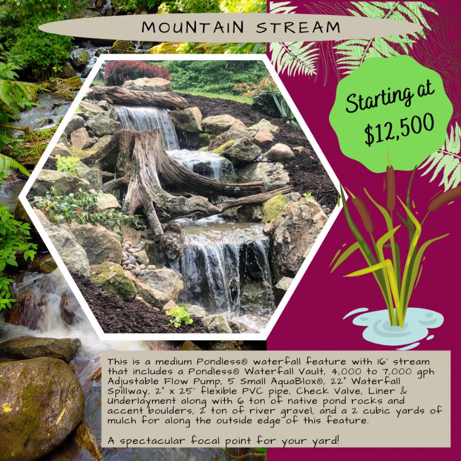 Kingdom Landscaping Pondless Waterfall Builder Mountain Stream