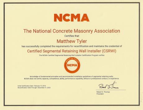 Kingdom Landscaping Matt Tyler NCMA Certification