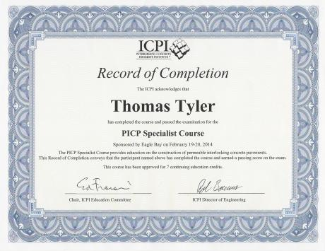 ICPI PICP Certificate of Completion for Tom Tyler