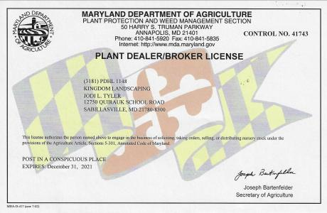 Kingdom Landscaping Plant Dealer License Maryland